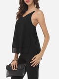 ByChicStyle Casual Plain Chain Racerback Delightful V Neck Sleeveless-t-shirt