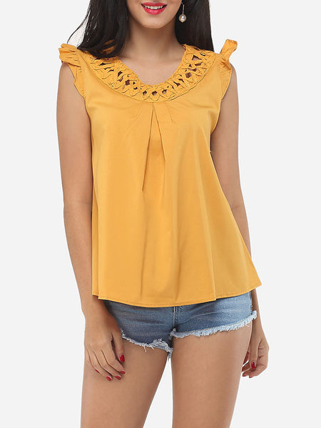 Hollow Out Plain Falbala Delightful Round Neck Blouse - Bychicstyle.com