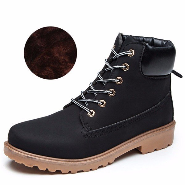 Casual Color Match Ankle Lace Up Kight Casual Fur Lining Flat Boots