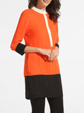 ByChicStyle Single Breasted Band Collar Chiffon Color Block Patchwork Blouse - Bychicstyle.com