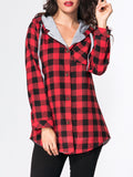 ByChicStyle Hooded Drawstring Single Breasted Plaid Printed Hoody - Bychicstyle.com