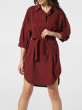 ByChicStyle Bowknot Asymmetrical Hems Polo Collar Dacron Plain Shift Dress - Bychicstyle.com