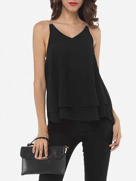 Casual Plain Chain Racerback Delightful V Neck Sleeveless-t-shirt