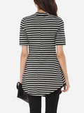 ByChicStyle Striped Elegant Band Collar Short-sleeve-t-shirt - Bychicstyle.com