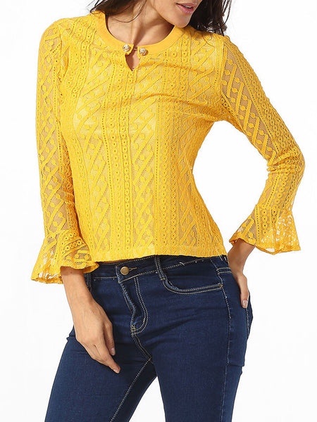 Crew Neck Keyhole Lace Hollow Out Plain Blouse - Bychicstyle.com