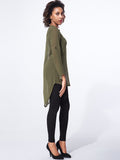 ByChicStyle Split Neck Plain roll-up sleeve dip hem blouse - Bychicstyle.com