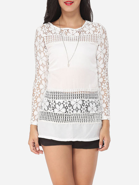 Hollow Out Lace Patchwork Plain Courtly Round Neck Long-sleeve-t-shirt - Bychicstyle.com