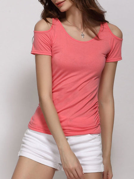 Shoulder Hollow Out Round Neck Short Sleeve T-shirt - Bychicstyle.com