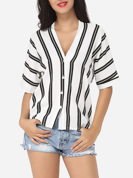 Striped Batwing Elegant V Neck Blouse - Bychicstyle.com