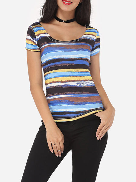 Casual Assorted Colors Extraordinary Round Neck Short-sleeve-t-shirt