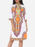 ByChicStyle Printed Tribal Extraordinary Band Collar Shift-dress - Bychicstyle.com