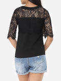 ByChicStyle Hollow Out Lace Patchwork Plain Tassel Elegant Round Neck Short-sleeve-t-shirt - Bychicstyle.com
