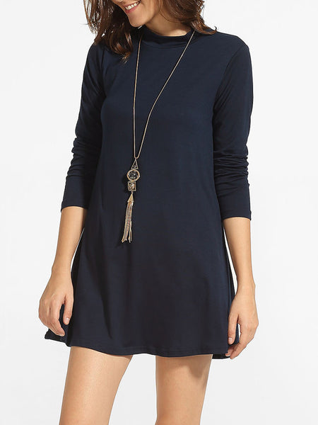 High Neck Plain Shift-dress - Bychicstyle.com