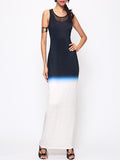 ByChicStyle Gradient Patchwork Chic Round Neck Maxi-dress - Bychicstyle.com