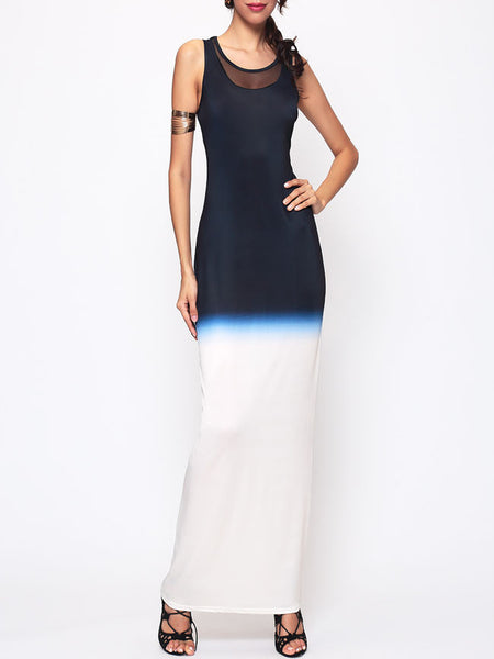 Gradient Patchwork Chic Round Neck Maxi-dress - Bychicstyle.com