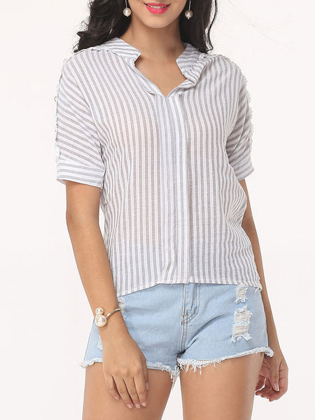 Hollow Out Striped Exquisite V Neck Short-sleeve-t-shirt - Bychicstyle.com