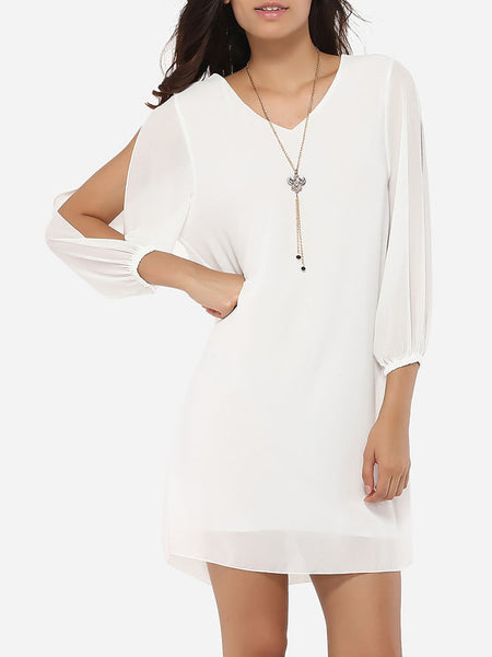 Loose Fitting V Neck Dacron Hollow Out Plain Shift-dress - Bychicstyle.com