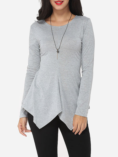 Casual Plain Asymmetrical Hems Courtly Round Neck Long-sleeve-t-shirt