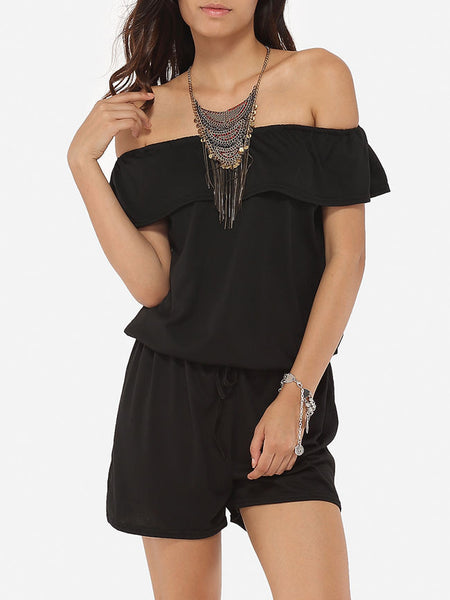 Falbala Loose Fitting Dacron Plain Rompers - Bychicstyle.com
