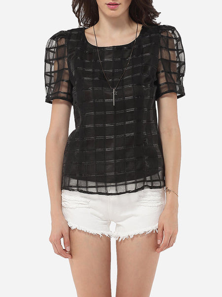 Round Neck Organza Plaid Plain Seethrough Blouse - Bychicstyle.com