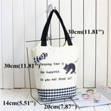 ByChicStyle Casual Women Canvas Casual Cute Cartoon Cat Handbag Shoulder Bags