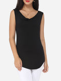 ByChicStyle Plain Exquisite Surplice Sleeveless-t-shirt - Bychicstyle.com