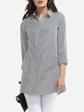 ByChicStyle Button Down Collar Dacron Printed Striped Blouse - Bychicstyle.com