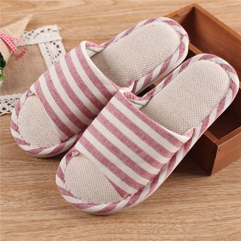 Casual Color Macth Stripe Slip On Peep Toe Flat Home Slippers