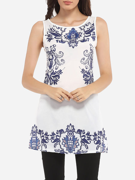 Casual Round Neck Dacron Printed Sleeveless-t-shirt