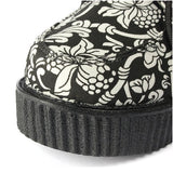 ByChicStyle Casual Canvas Black And White Print Flower Platform Shoes