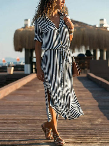 Bandage Stripes Split-side Midi Dresses