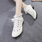 ByChicStyle Casual Leather Lace Breathable Hollow Out Soft Sole Casual Shoes