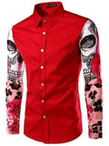 Casual Assorted Colors Printed Small Lapel Men's Shirt