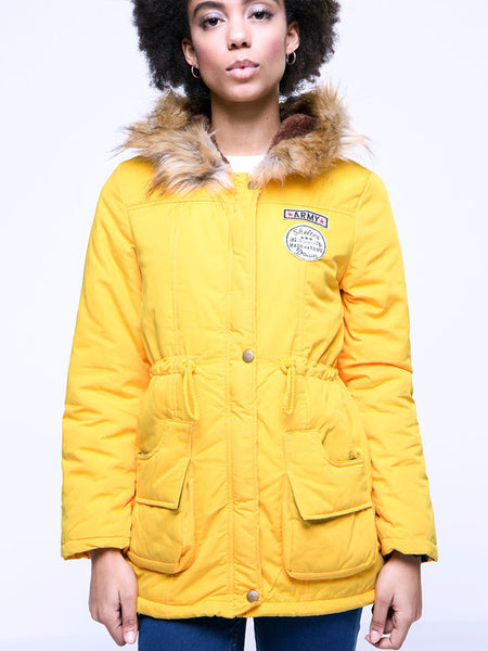 Casual Warm Hooded Drawstring Patch Pocket Padded Coat