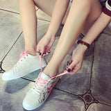 ByChicStyle Casual Flower Embroidery White Casual Lace Up Shoes