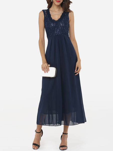 Round Neck Lace Patchwork Plain Evening-dress - Bychicstyle.com