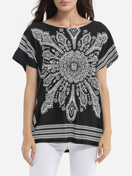 Casual Batwing Loose Fitting Round Neck Dacron Printed Short Sleeve T-shirt
