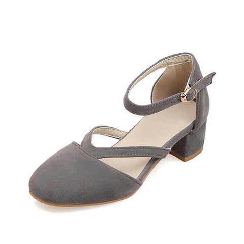Casual Big Size Suede Mary Jane Chunky Heel Elegant Shoes