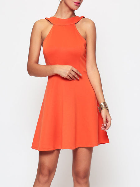 Casual Plain Charming Crew Neck Skater-dress