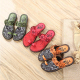 ByChicStyle Casual Flower Clip Toe Bohemia Vintage Flat Slippers For Women