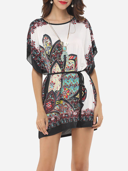 Printed Batwing Charming Round Neck Short-sleeve-t-shirt - Bychicstyle.com
