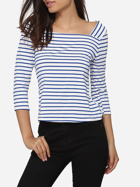 Square Neck Blended Printed Striped Long-sleeve-t-shirt - Bychicstyle.com