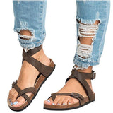 ByChicStyle Women's Sandals - Casual Summer Beach Gladiator Buckle Strap Sandals