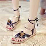 ByChicStyle Casual Flower Bead Chain Clip Toe Lace Up Bohemia Flat Beach Sandals