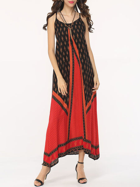 Tribal Patchwork Spaghetti Strap Maxi-dress - Bychicstyle.com
