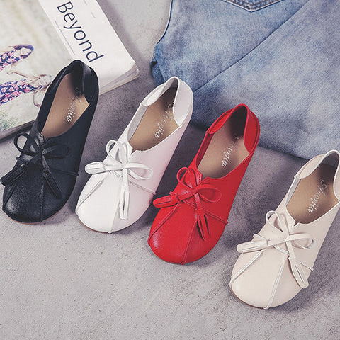 Casual Bowknot Tassel Multi-Way Flat Slip On Shoes