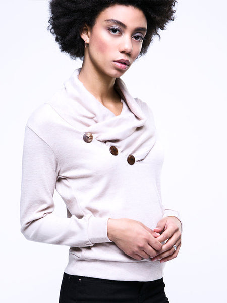Cowl Neck Decorative Button Plain Hoodie - Bychicstyle.com