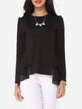 ByChicStyle Plain Falbala Courtly Round Neck Long-sleeve-t-shirt - Bychicstyle.com