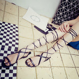 ByChicStyle Casual Black Strappy Bandage Lace Up Peep Toe Flat Roman Gladiator Sandals