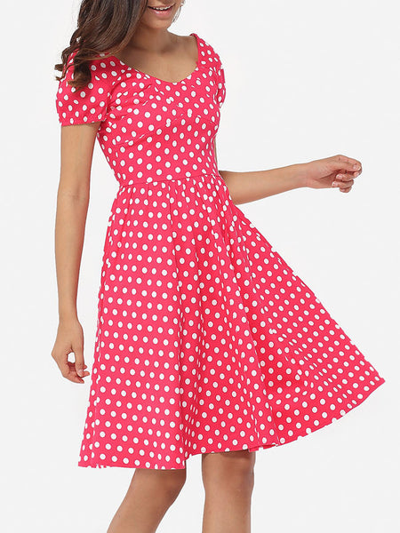 Casual Round Neck Dacron Polka Dot Skater-dress